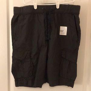 Drawstring waist grey cargo shorts